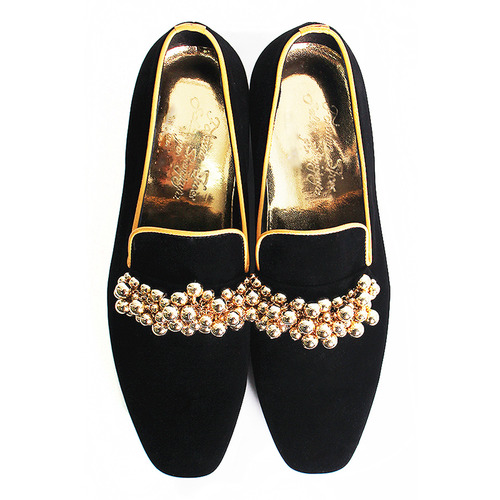 Designer Gold Decorated Styling Black Velvet Loafers 5226