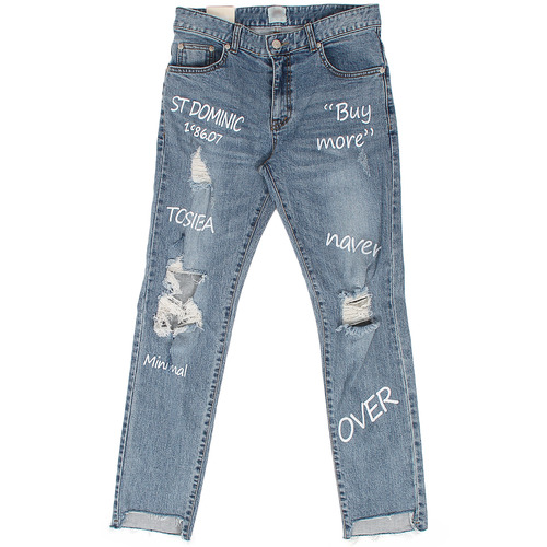 Hand Writing Vintage Cutting Slim Jeans 5044