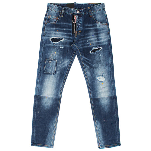 Front Zipper Vintage Patched Distressed Blue Jeans
