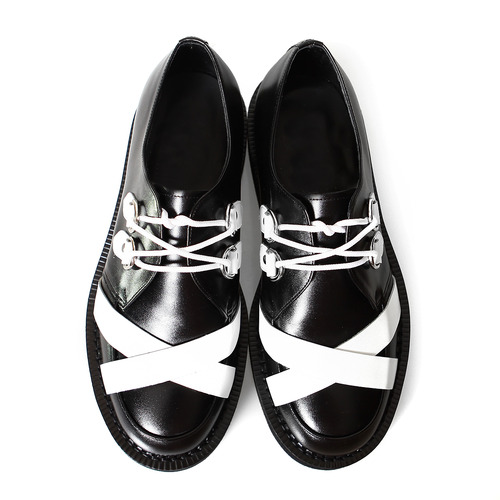 Contrast White Cross Handmade Leather Blown Sole Creepers 1074