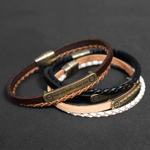 Statement Tag Double Leather Strap Bracelet B215