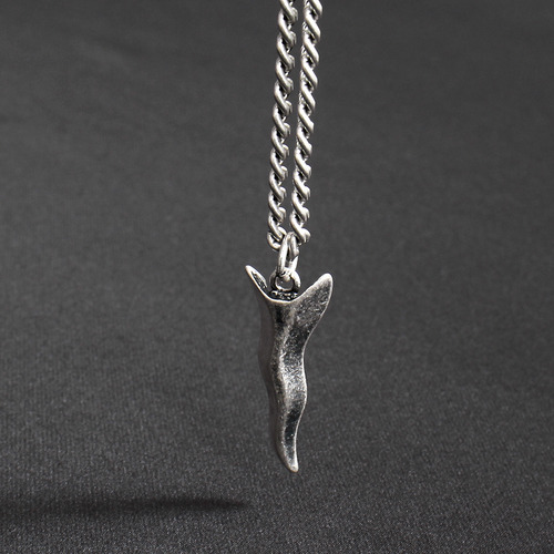 Silver Tone Matte Steel Antique Knife Chain Necklace N66