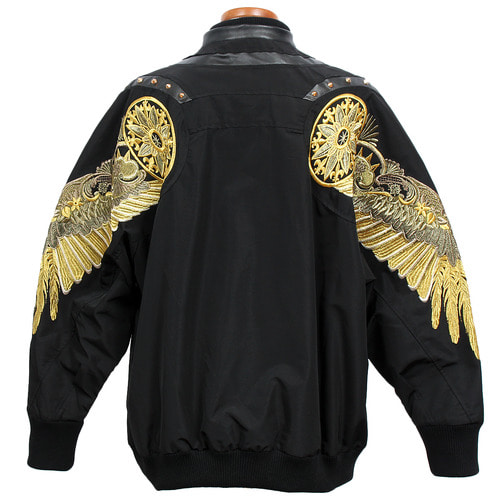 Loose Fit Gold Wing Stitch Studded Sukajan Jacket