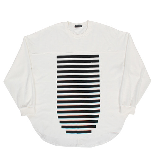 Stripe Side Split Long Over Boxy Tee