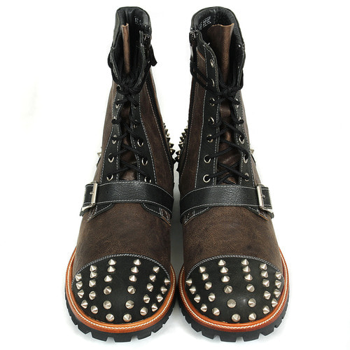 Studded Belted Handmade Leather Boots HJ5149