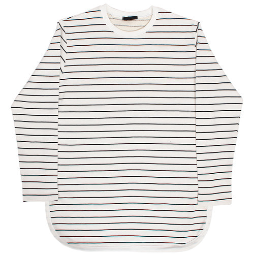 Loose Fit Split Side Striped Over Long Tee