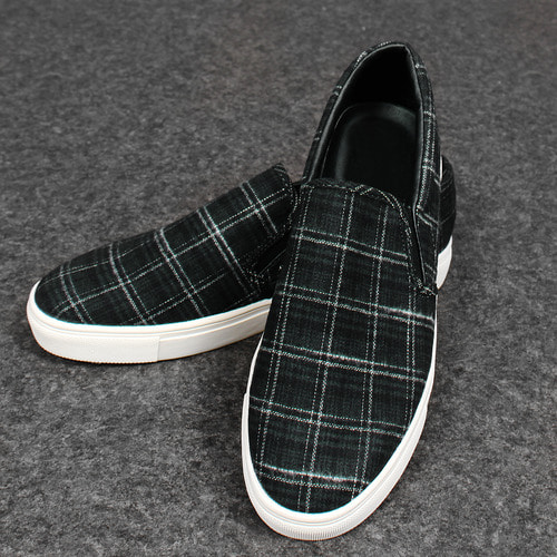 Check Pattern Wool Slip On Sneakers 25