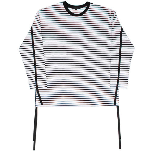 Loose Fit Striped Pattern Strap Draped Long Tee