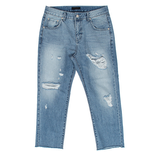 Cut Off Distressed Ripped Wide Blue Jeans D5094