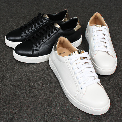 Metallic Gold Tongue Back Collar Lace Up Sneakers