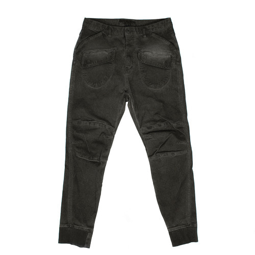 Cargo Pocket Vintage Washed Denim Slim Jogger Pants