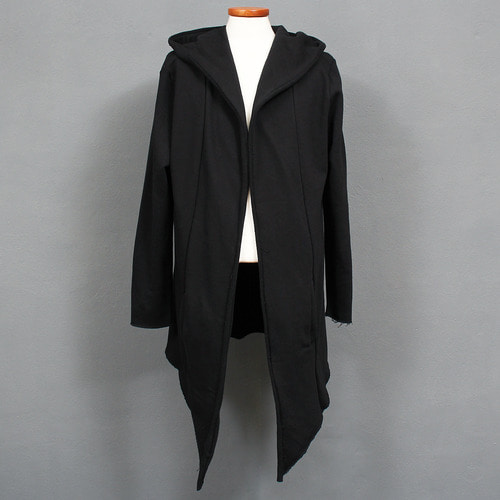 Diagonal Cut Open Front Hood Black Cardigan