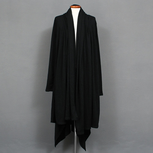 Gothic Shirring Shawl Long Black Knit Cardigan