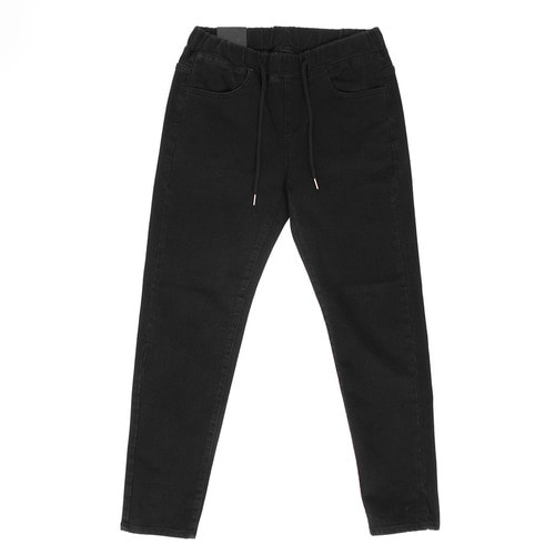 Elastic Waistband Black Denim Pants 3583