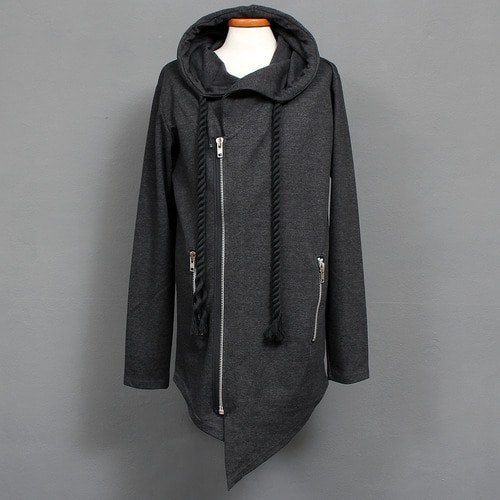 Rope Strap Diagonal Hem Zip Up Hoodie
