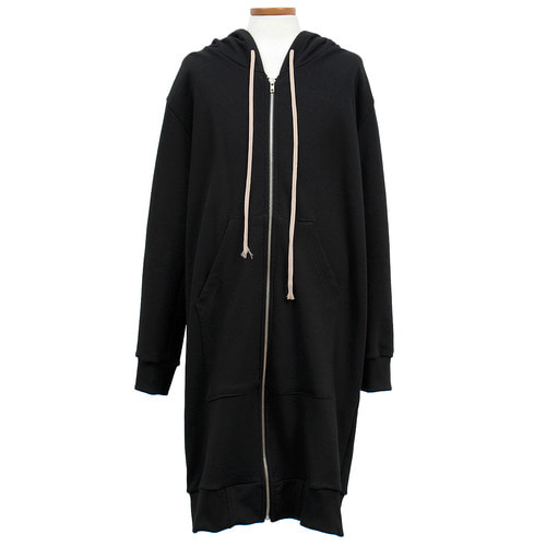 Long Strap Pocket Zip Up Long Hoodie