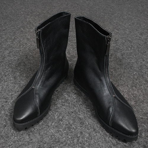 Faux Leather Zipper Styling High Top Boots XC016