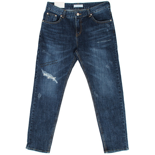 Vintage Distressed Statement Straight Blue Jeans 1074