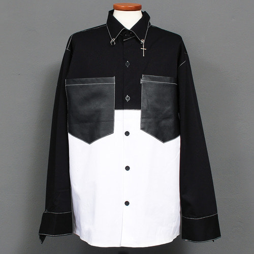 Ring Cross Piercing Collar Contrast Boxy Shirt