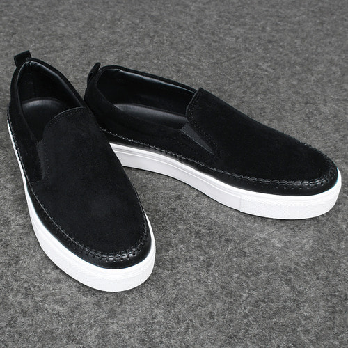 Synthetic Suede Leather Stitched Slip On Sneakers