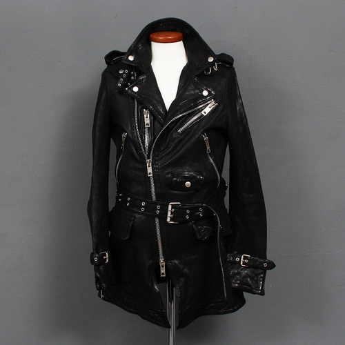 Zipper Buckle Belted Riders Black Leather Coat 077