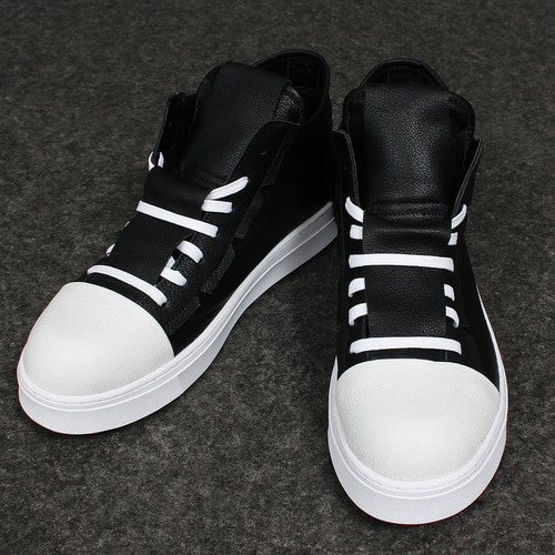 Long Layered Tongue Lace Up Leather Sneakers A070
