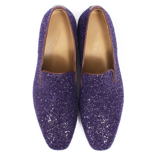 Handmade Purple Crystal Glitter Encrusted Loafers 5271
