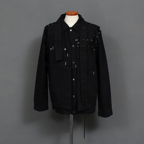 Avant garde Eyelet Lace Strap Layered Pocket Jacket