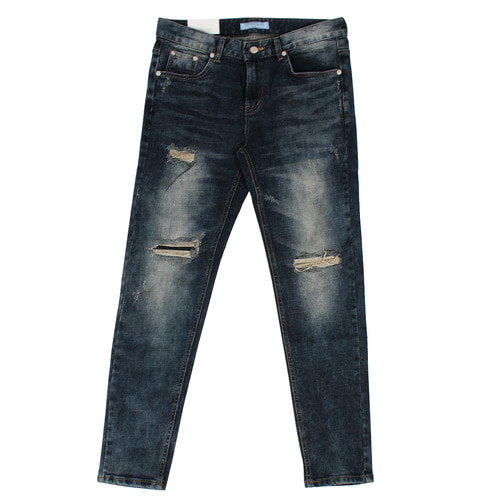 Vintage Distressed Faded Slim Fit Blue Jeans 1083