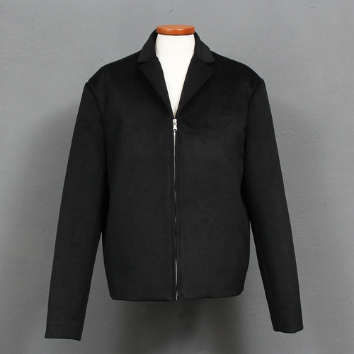 Loose Fit Minimal Zipper Short Wool Jacket