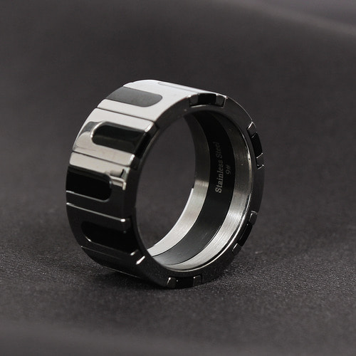 Black Stone Combi Surgical Stainless Steel Ring R23