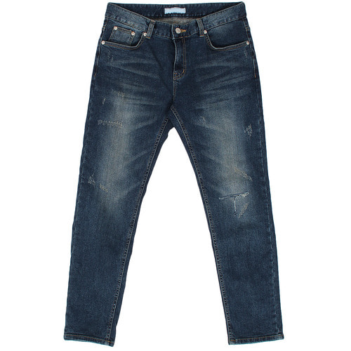 Vintage Distressed Faded Slim Fit Blue Jeans 1087