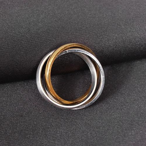 Triple Color Tone Surgical Stainless Steel Rolling Ring R26
