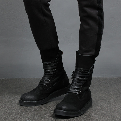 Crack Coated Leather Back Zipper Black Boots XC116