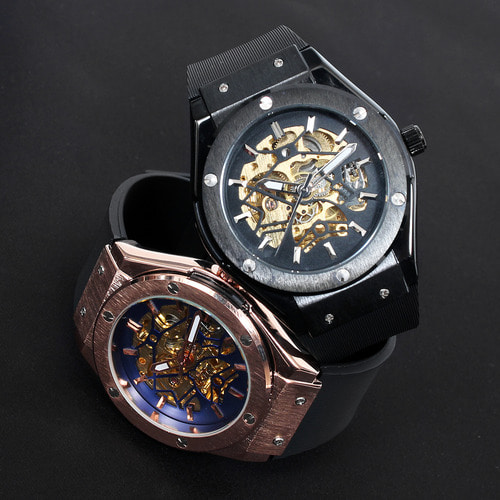 Self Winding Transparent Mechanical Movement Rubber Strap Watch 815