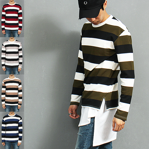 Loose Fit Color Striped Split Side Stretchable Sweatshirt