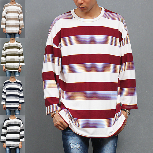 Loose Fit Wide Long Sleeve Striped Color Tee