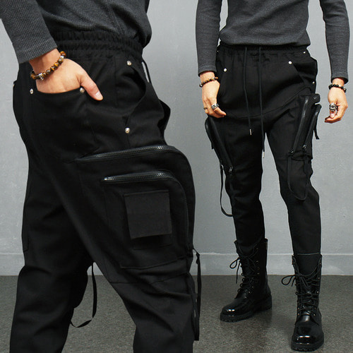 Avantgarde Kangaroo Zipper Big Cargo Pocket Semi Baggy Jogger Pants