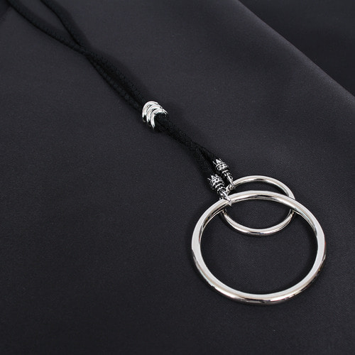 Adjustable Sliding Fixture Double Circle Ring Necklace N87