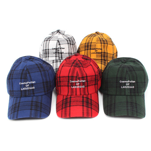 Checkered Pattern LASVEGAS Logo Stitch Baseball Cap