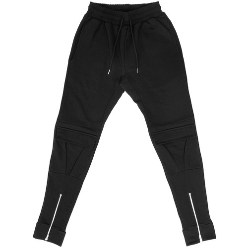 Zippered Hem Knee Flap Cargo Pocket Styling Slim Sweatpants