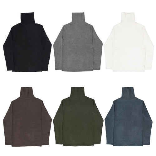 Stretchable Spandex High Neck Fleece Tee