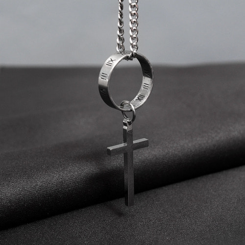 Surgical Stainless Steel Cross Circle Ring Necklace N88