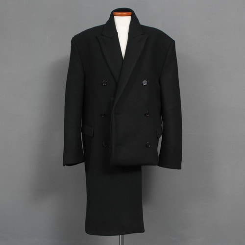 Double Button Loose Fit Half Fold Up Wool OverCoat