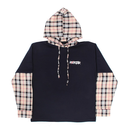 Layered Check Shirt Styling Hooded Boxy Tee