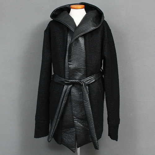 Faux Leather Hood Shawl Waist Strap Jacket
