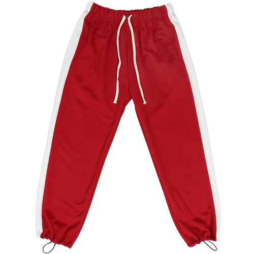 Drawstring Hem Contrast Side Color Jersey Slim Jogger Sweatpants