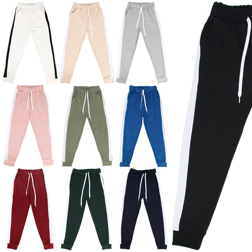 Side Contrast Line Color Slim Jogger Pants