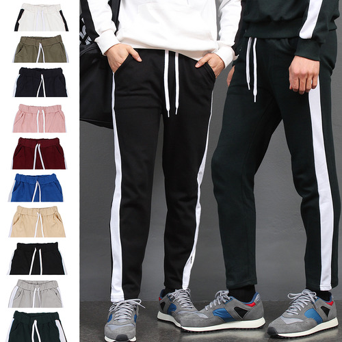 Sleeve Side Contrast Line Color Sweatpants