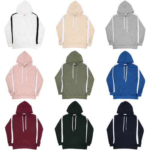 Sleeve Side Contrast Line Color Basic Slim hoodie